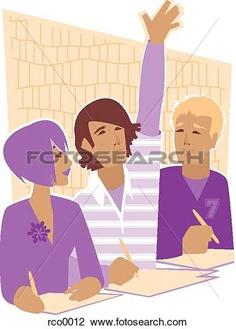 Clip Art of guy raising his hand in class rco0012.