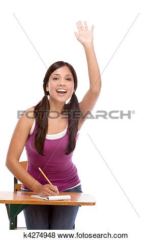 Clipart Teenager Raising Hand In Class.