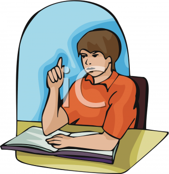 Clipart of a Teenage Student Raising His Hand in Class.