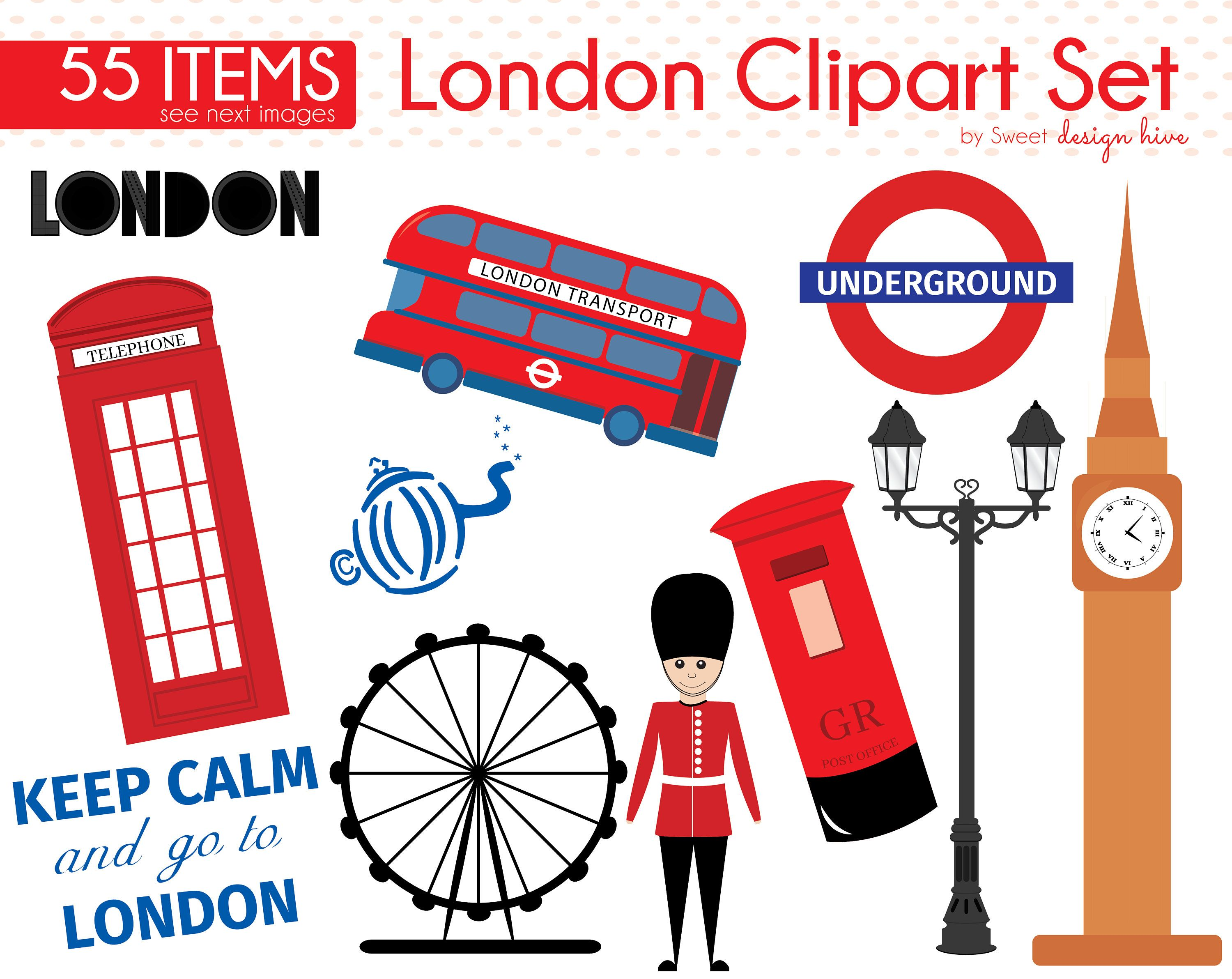 London Clipart, Telephone Booth Clipart, Queen\'s Guard.