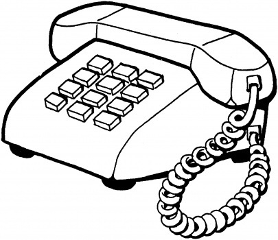 Telephone Clipart Black And White.