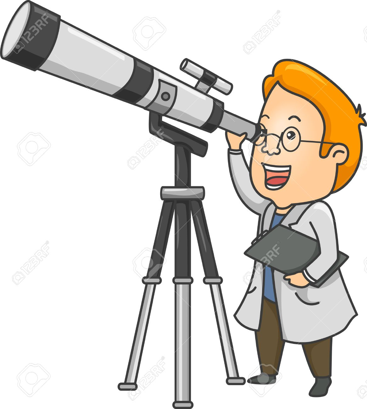 Illustration of a Researcher Using a Long Range Telescope.