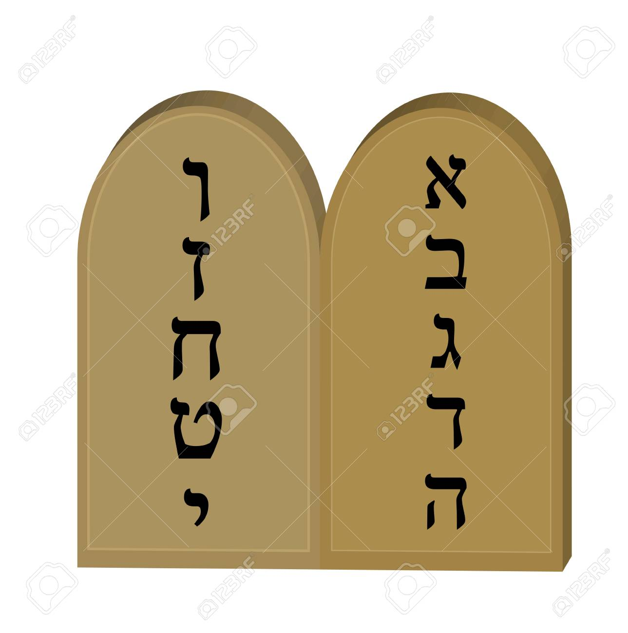 Tablets Jewish from 10 commandments icon, flat, cartoon style.