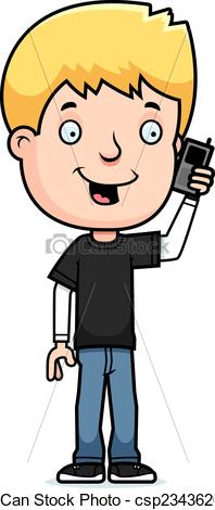 Teenager On Phone Clipart.