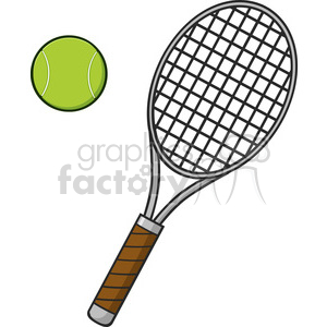 cartoon tennis ball and racket vector illustration isolated on white  clipart. Royalty.