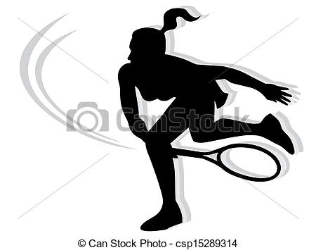 Vector Clip Art of Woman playing tennis.