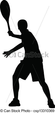 Clip Art Vector of Silhouette of tennis player, vector csp13310369.