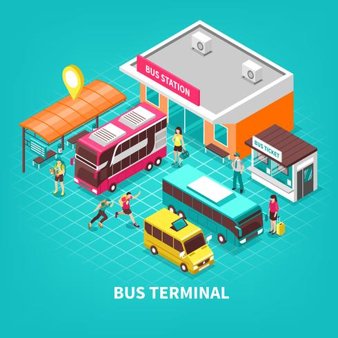 Bus Terminal Isometric Illustration.