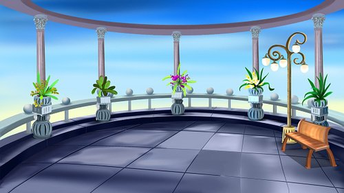 Terrace with Colonnade Clipart Image.