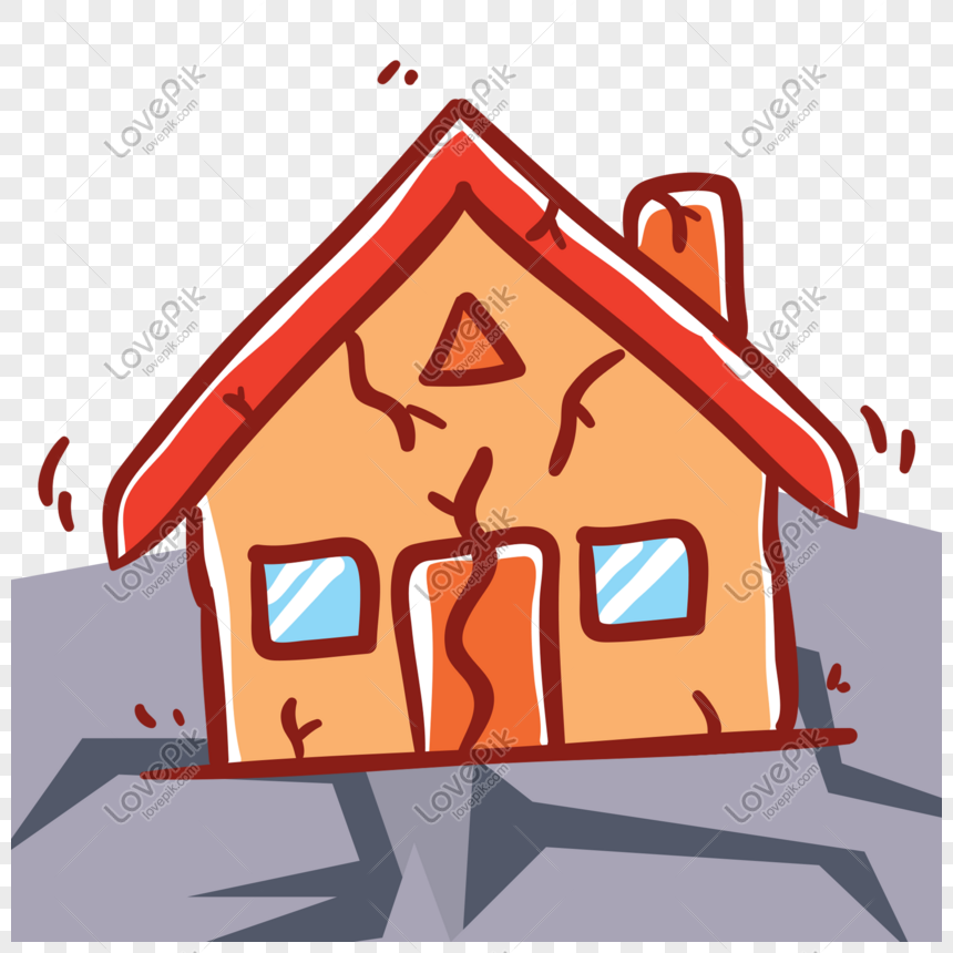 casa de dibujos animados colapsada por terremoto Imagen.