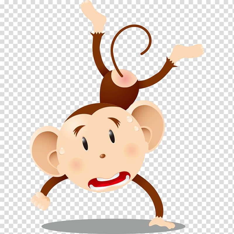 Chimpanzee Ape Monkey Cartoon, A terrified monkey.