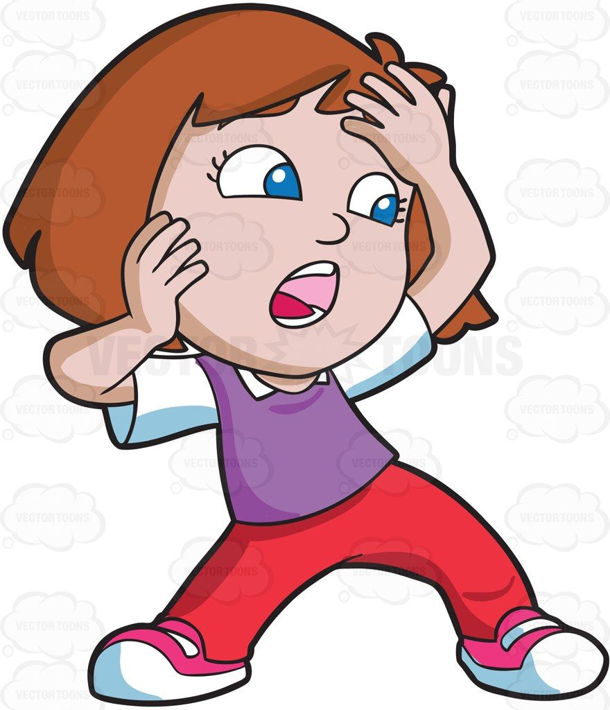 A girl shouting in shock and terror #cartoon #clipart.