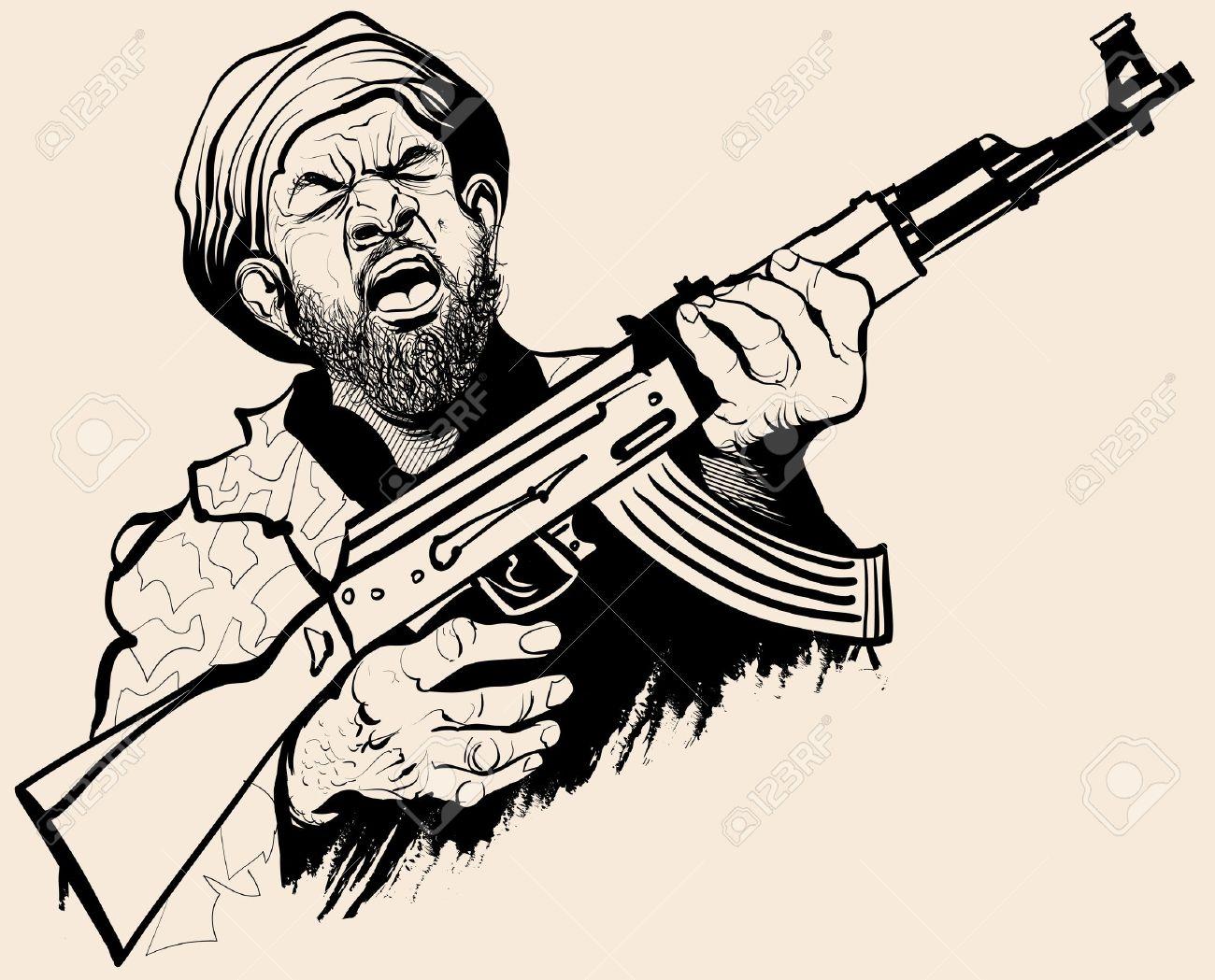 terrorist: Caricature of a.