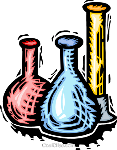 test tubes, beakers and flasks Royalty Free Vector Clip Art.