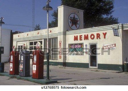 Iowa, Winterset, Texaco Gas Station from Bridges of Madison.