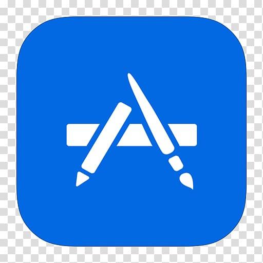 White paintbrush A log o, blue angle area text, MetroUI Apps.