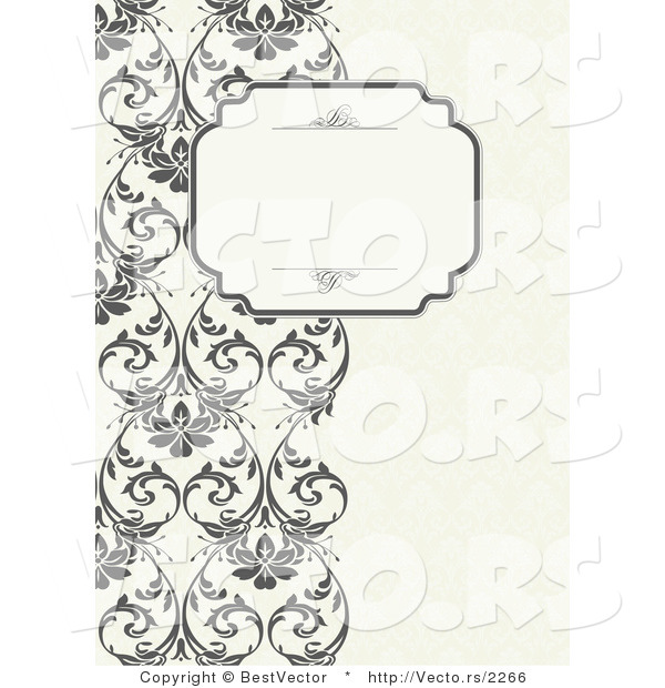 Vector of Vines Border with Blank Text Box by BestVector.
