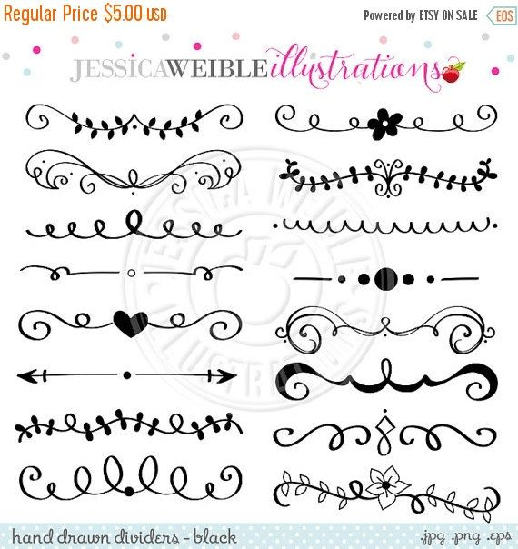 SALE Black Hand Drawn Text Dividers Vintage by.