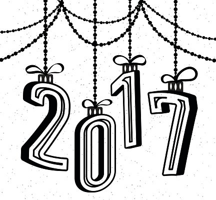 Happy New Year 2017 Celebration Background With 3d Text.