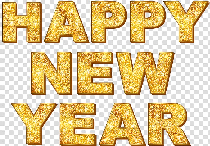 Happy new year text, New Year\\\'s Day, Gold Happy New Year.
