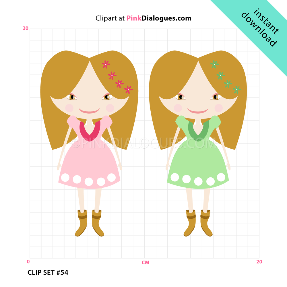 Sweet CowGirls Clipart (Vector).
