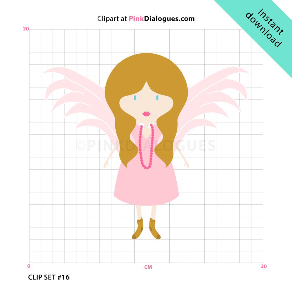 Sweet Angel Girl Clipart (Vector).