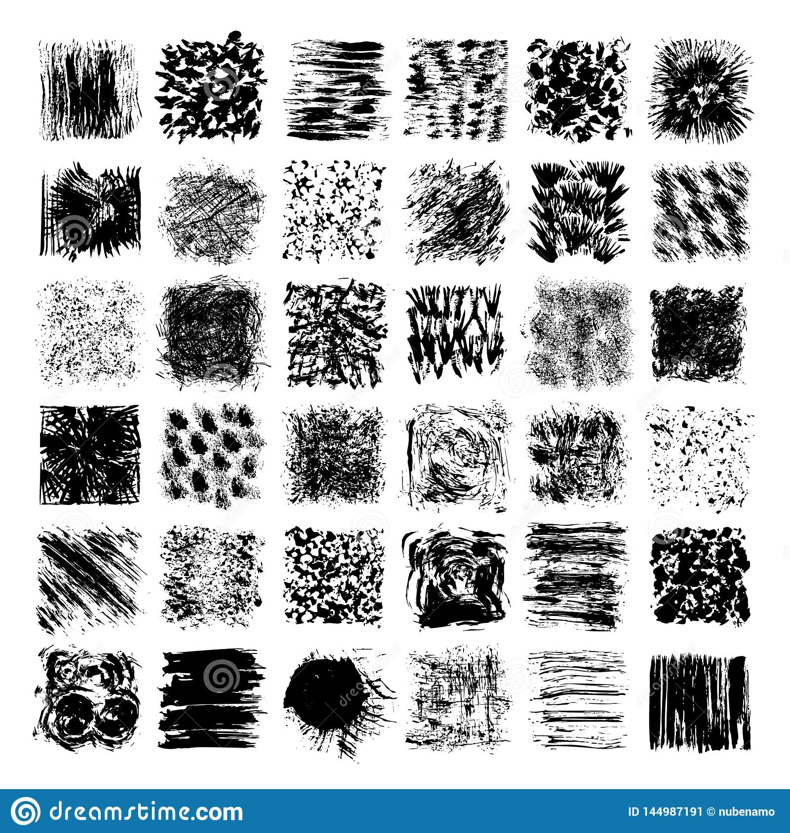 Grungy Hand Drawn Textures, Brush Strokes. Abstract Vector Clipart.