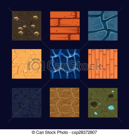 Vector Clipart of Different Materials and Textures for the Game.