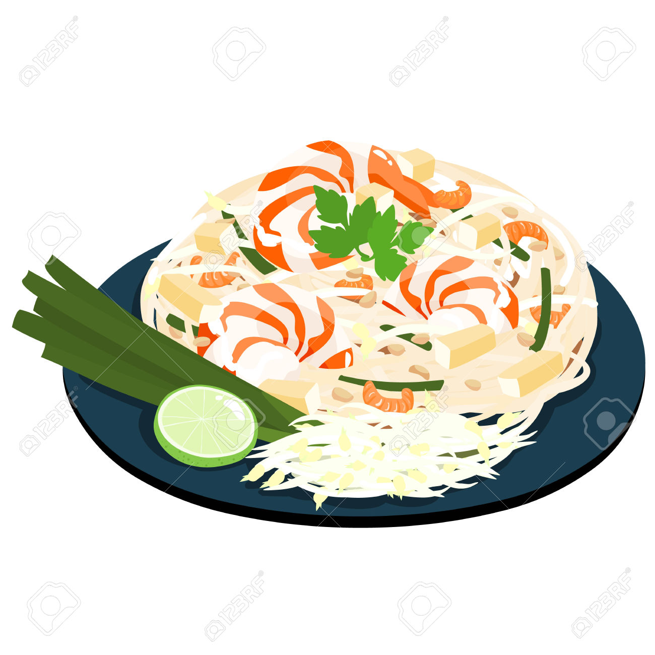 Fried Noodles Popular Thai Food Vector Illustration Royalty Free.