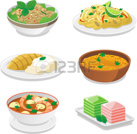 set of thai food Stock Vector.