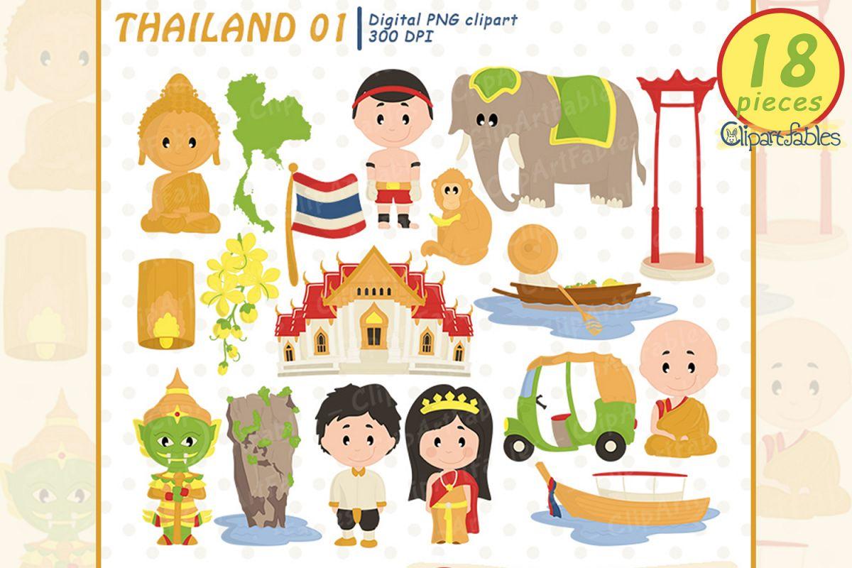 Cute Thailand clipart, Buddha clip art, nice travel design.
