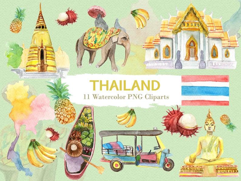 Thailand Clipart Watercolor Digital Download Travel Southeast Asia Bangkok  Flag Buddha Tuktuk Country Invite Paint Original.