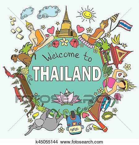 Thailand. Set Thai color vector icons and symbols, vector illustration  Clipart.