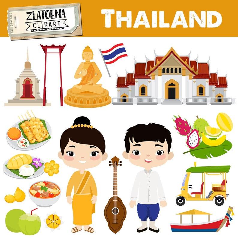 Thailand clipart Travel Southeast Asia Flag Buddha Culture Clipart Country  Clipart Thailand graphics Bangkok Travel East Asia clipart.
