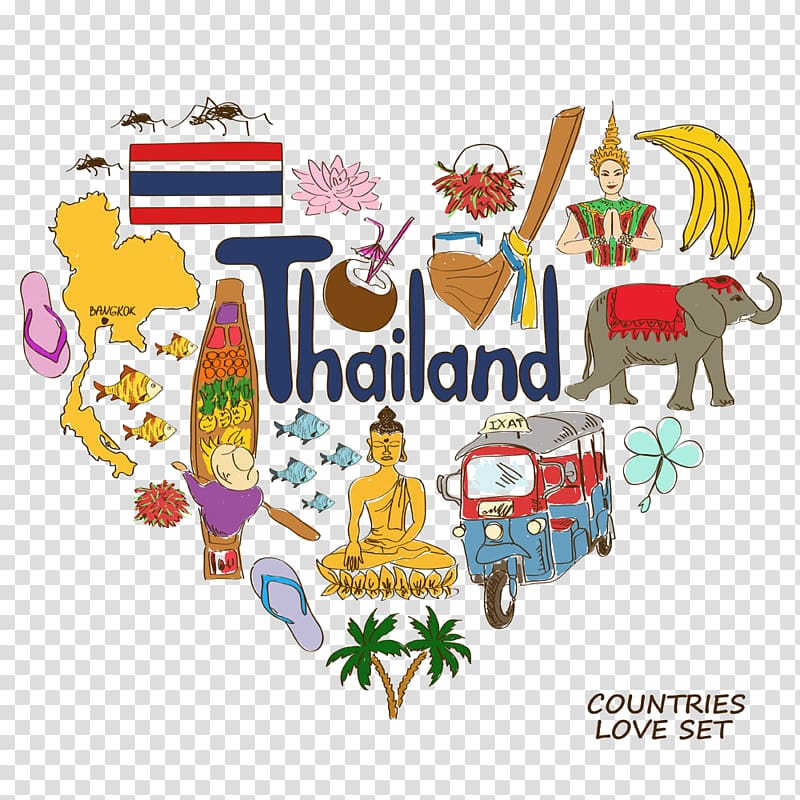 Thailand artwork , Thailand Heart Symbol Illustration, Thailand.