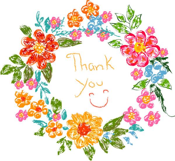 Flower frame thank you card Free vector in Adobe Illustrator.
