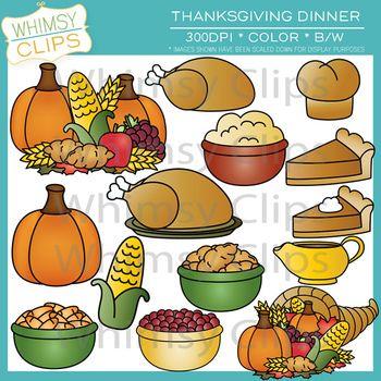 Dinner Foods for Thanksgiving Clip Art.