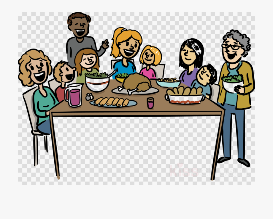 Family Thanksgiving Dinner Clip Art , Transparent Cartoon.