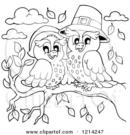 Cartoon Of An Outlined Thanksgiving Pilgrim Couple.