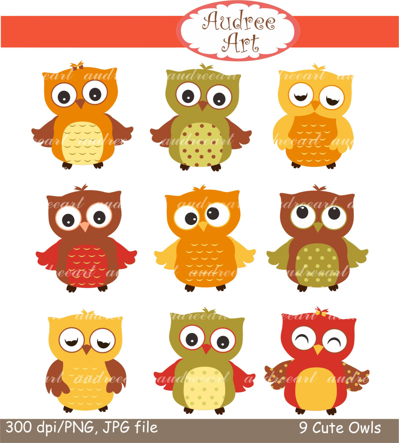 Owls clip art 9 cute owls clip art Autumn Owls woodland.