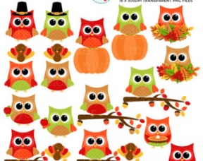 Owl With Fall Pumpkins Clipart.