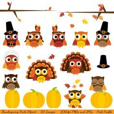 HAPPY THANKSGIVING Digital Clipart, Thanksgiving Turkey Clipart.