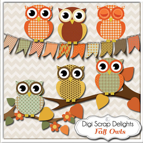 Fall Owls Clip Art Thanksgiving Scrapbooking Autumn Colors.