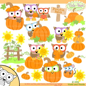 Harvest Owls Fall Clipart Pumpkin Sunflowers Thanksgiving Clip Art.