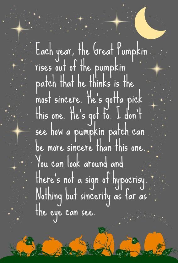 25+ best ideas about Great Pumpkin Charlie Brown on Pinterest.