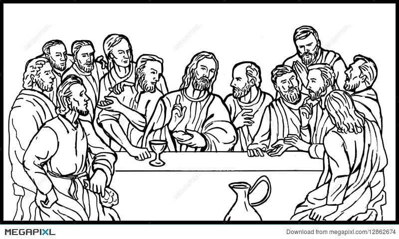 Last Supper Of Jesus Disciples Illustration 12862674.