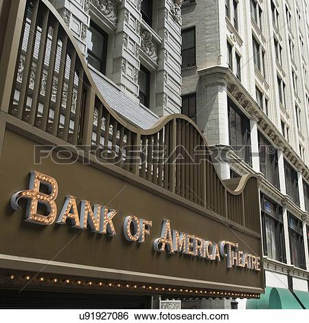 Stock Images of Low angle view of Bank of America Theater, Chicago.
