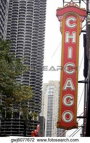 Stock Photo of Low angle view of a sign board, Chicago Theater.