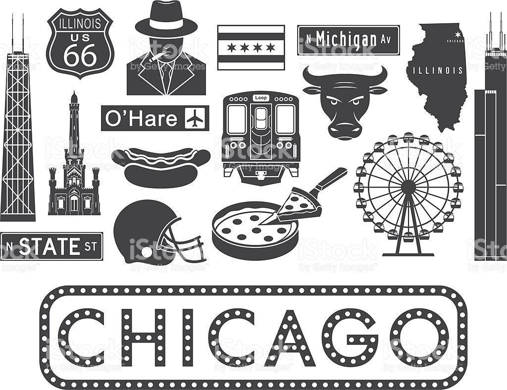 Vector Illustrations Of Chicagorelated Icons stock vector art.