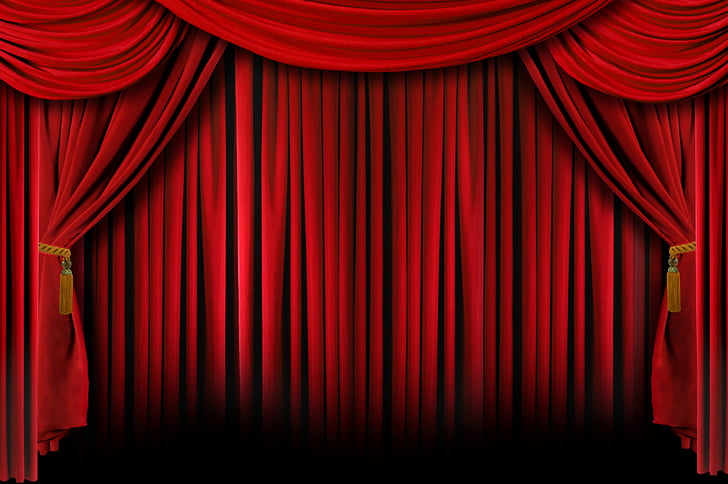 Light Theater drapes and stage curtains Red , Movie Theatre.